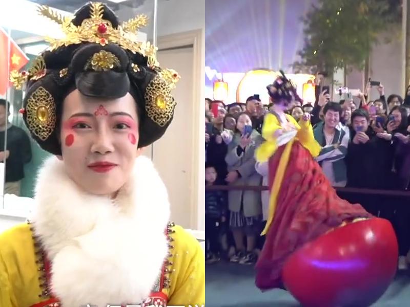 90後演員馮佳晨因在西安大唐不夜城的不倒翁表演備受關注,被大家親切地稱為「不倒翁女孩」。(網圖)