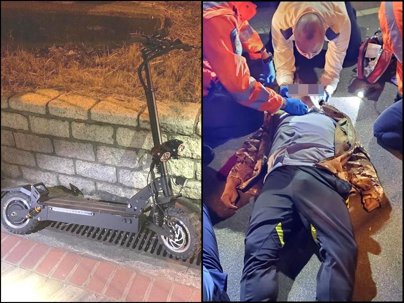 男事主踩電動滑板車出事。網圖