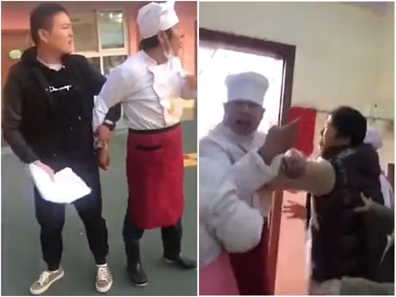 河南鄭州一名廚師爭執的影片惹議。網上圖片