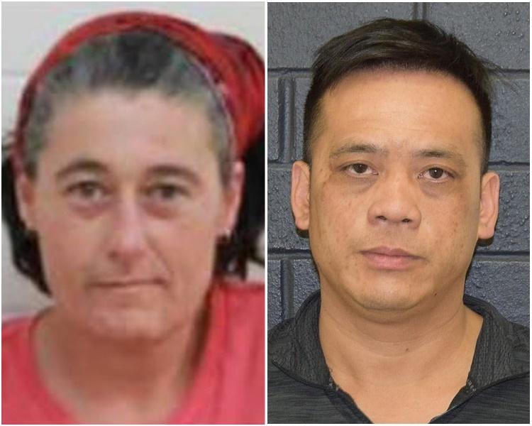 获救的40岁男子陈富(右);仍然失蹤的46岁女子霍克里奇(左)。网上图片