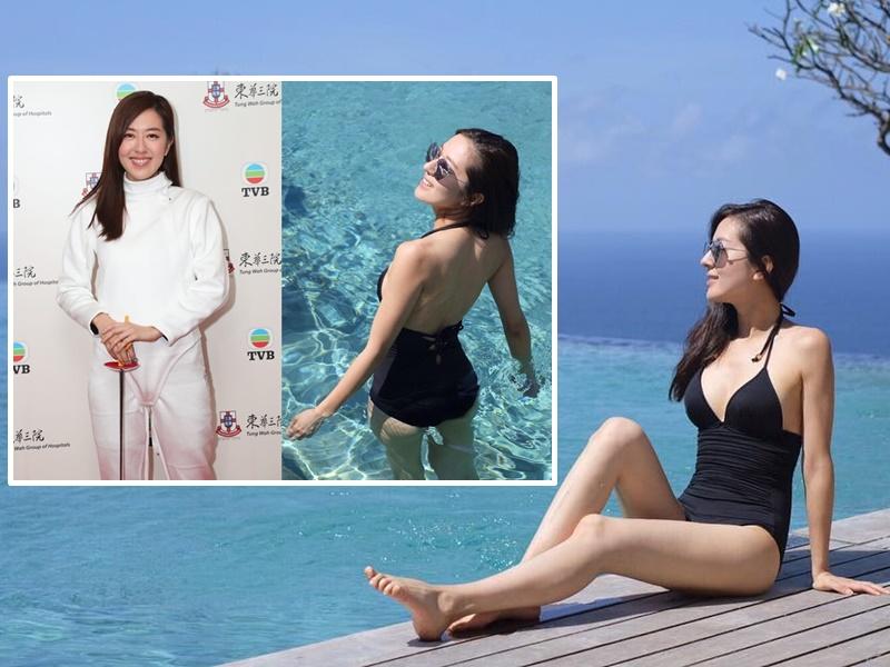 唐詩詠穿同一件泳衣,去年晒正面被讚身材正,今年只晒背說沒勇氣晒正面。