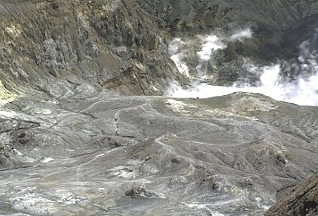 火山爆發時,有遊客在火山口遊覽。AP