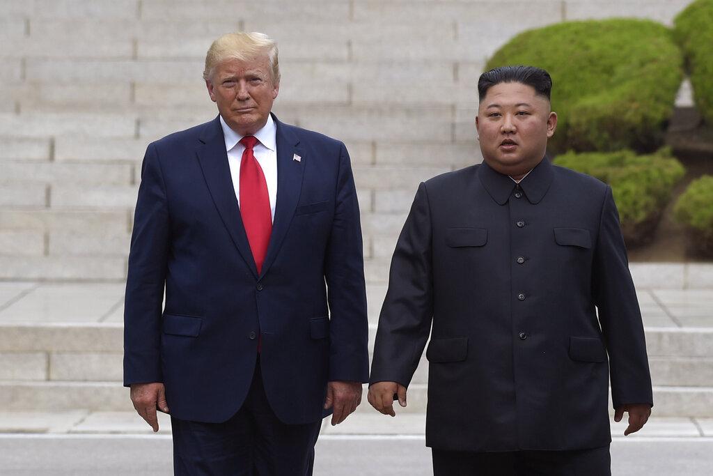 特朗普指,金正恩在2018年新加坡峰會上簽署了一份強大的無核化協議。AP