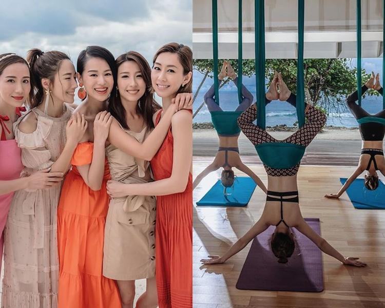 「胡說八道會」一眾成員於當地一邊望住個海,一邊倒吊做瑜伽,好疏乎!