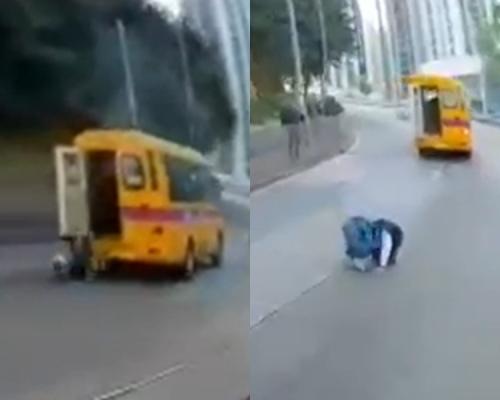 【片段】學生哥校巴車尾跌出馬路 後車急停險釀車禍