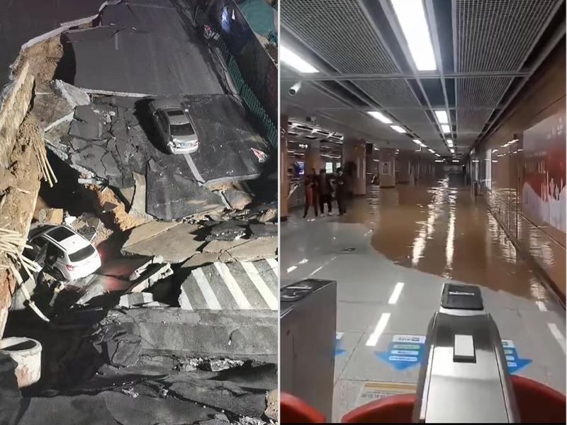 塌陷時水管發生爆裂,有水從中湧出,廈門地鐵一號線昨晚因此次塌陷事故暫時停運。(網圖)