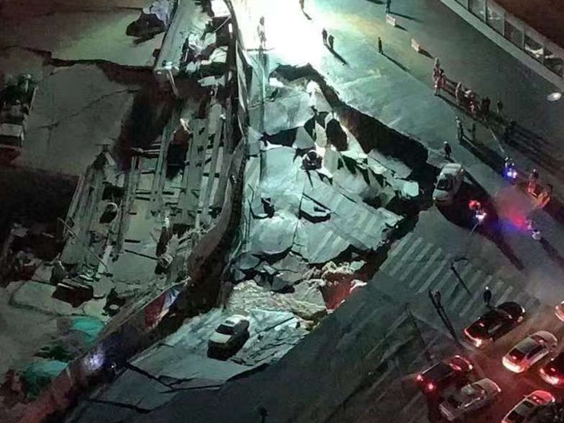 福建廈門昨晚發生大面積地陷。(網圖)