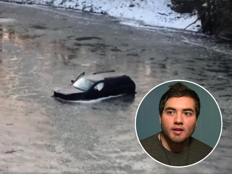 男子不慎连人带车坠入冰河 Siri神救