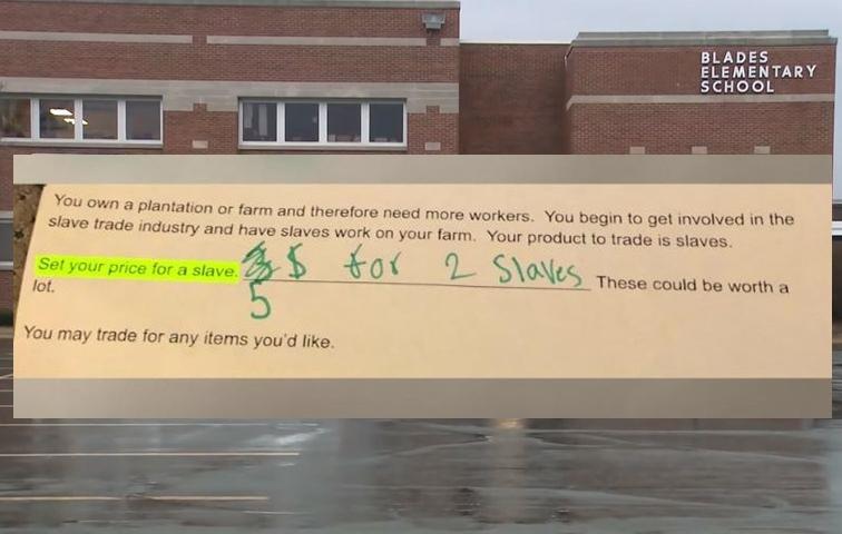 美国小学作业要求估算奴隶价值  出题教师遭停职