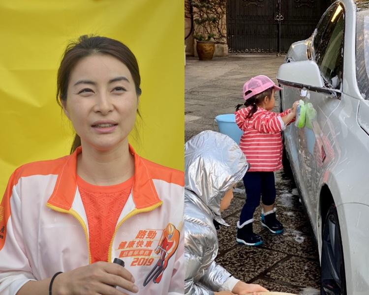 郭晶晶(左)稱不會為免受傷而不許小朋友自由活動,皆因她覺得跌倒就要自行起身。