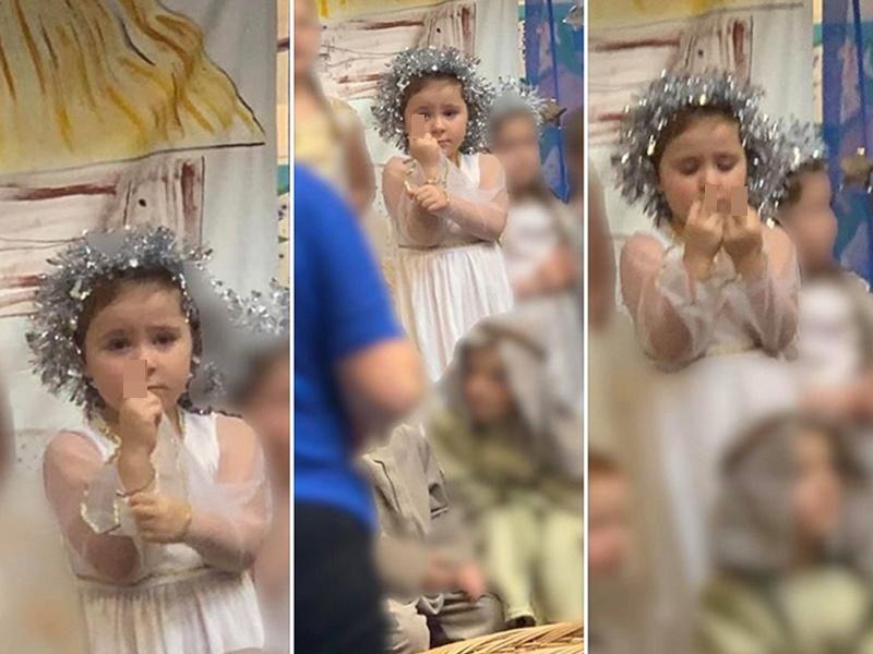 小女孩表演过程中被怀疑举中指,原来只是一场误会。(网图)