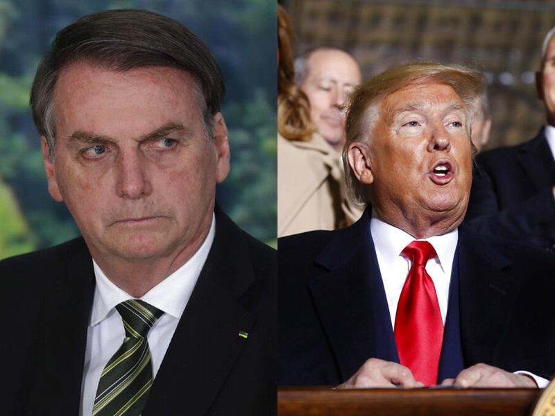 巴西总统博尔索纳罗与美国总统特朗普。