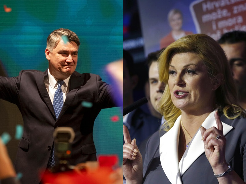 前总理米拉诺维奇(左),与现任女总统科琳达‧格拉巴尔—基塔罗维奇(右)再决高下。