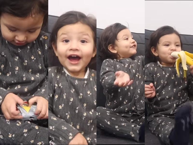Aria收到香蕉好开心啊。影片截图