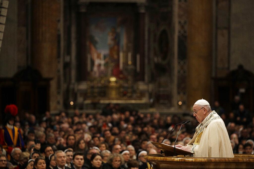 教宗方济各发表新年文告,称要尊重妇女。图