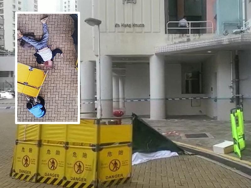 男子從高處墮下,警方用帆布遮蓋屍體。林思明攝/網圖
