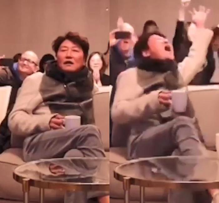宋康昊聽到電影入圍最佳電影即振臂歡呼。