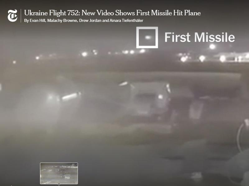 新片段顯示烏克蘭客機遭兩枚伊朗導彈擊中。(紐約時報)