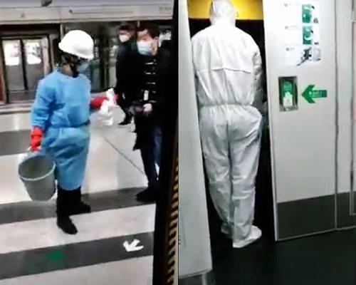 車長發燒證非武漢肺炎 港鐵職員穿全副保護衣清潔駕駛室