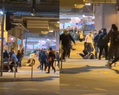 【修例風波】元朗站外十多人圍毆青年 六人受傷送院(片段)