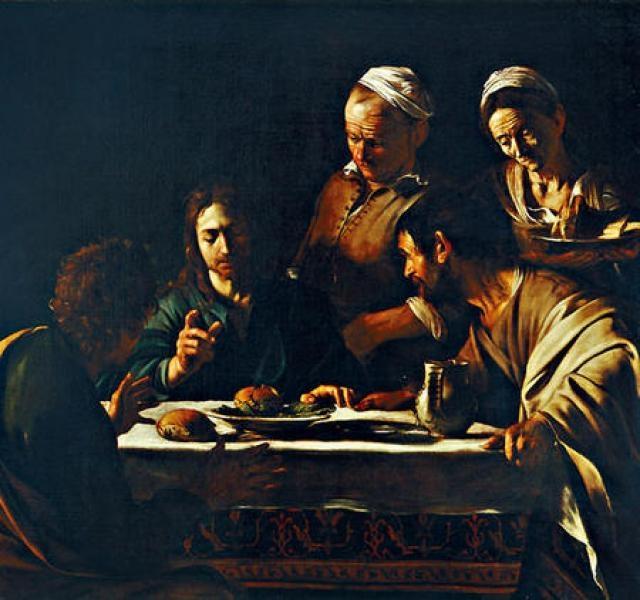 巴洛克風格大師卡拉瓦喬真迹《以馬忤斯的晚餐》首次在港展出,展現明暗之間的張力。