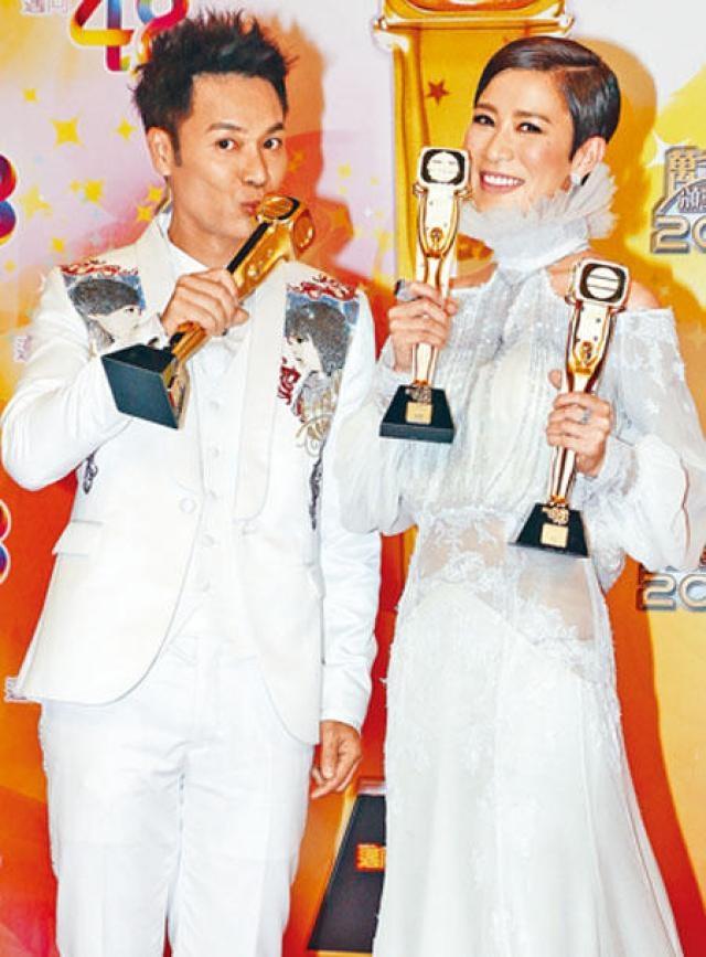 郭晉安與佘詩曼在《萬千星輝頒獎典禮2014》上分別奪得視帝視后。