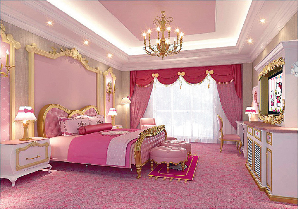 kitty主题房以粉红色为主调