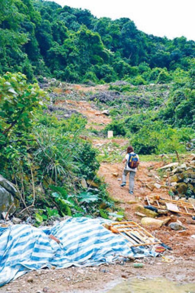 大灘一幅山坡和地面遭人破壞,剷平植物並堆放泥頭。