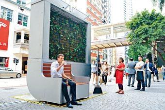全亞洲首座以植物淨化空氣的智能裝置「城市樹木」。