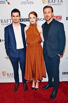 愛瑪和賴恩(右)昨出席BAFTA茶敍,愛瑪憑《星聲》在澳洲奧斯卡封后。