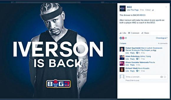 BIG3官方Instagram以「艾華遜歸來」作宣傳。
