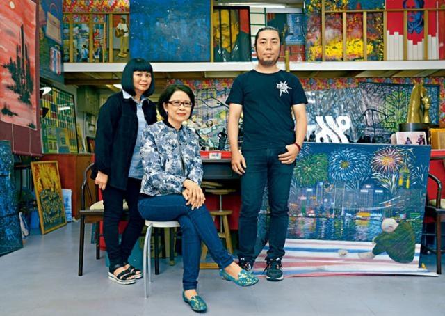 年度開放日,藝術家將打開工作室之門,直接與大眾接觸(左起:蕭愛冰、陳韞麗、黃偉麟)。
