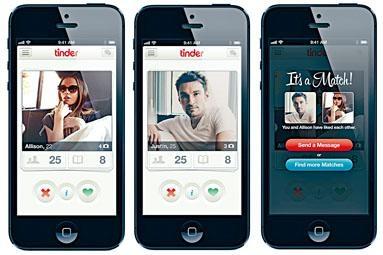 手機交友程式「Tinder」為網友配對。