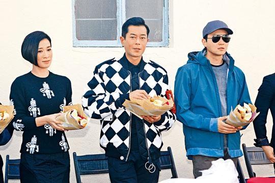 (左起)佘詩曼、古天樂與張智霖,出席新片拜神儀式。