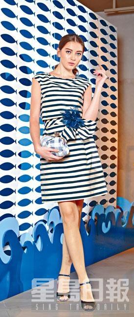 黑白色間條連身裙、藍色花飾扣針、藍白色格子圖案Clutch、紅綠拼色露趾高跟鞋。