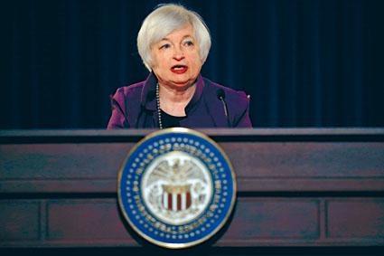 聯儲局指出過去一個半月以來,美國經濟繼續穩步增長。圖為主席耶倫。
