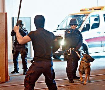 模擬兩名分別持刀及持槍男子闖入機場航空公司辦公室,挾持職員,機場特警連同警犬趕到場,與持刀男子對峙。