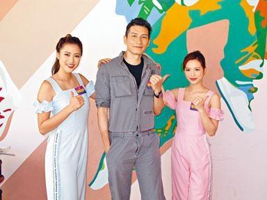 (左起)劉穎鏇、袁文傑與馮盈盈,一起錄影《學是學非》。