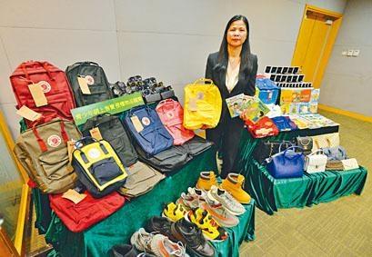 海關檢獲的冒牌貨有名牌手袋、背囊、波鞋波衫、手表等,葉慧嬋指仿真度高。