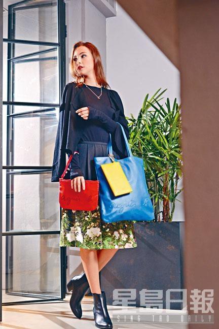 心形b. logo水晶項鏈、紅色尼龍斜揹袋、agnès b.字樣藍色皮革Tote Bag、黃色皮革Pouch。