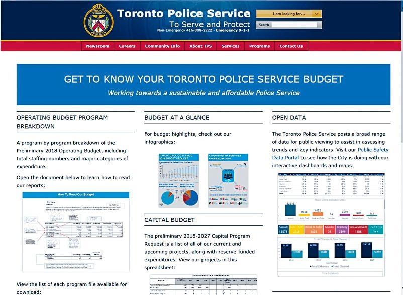 多市警隊預算案網頁主頁。互聯網