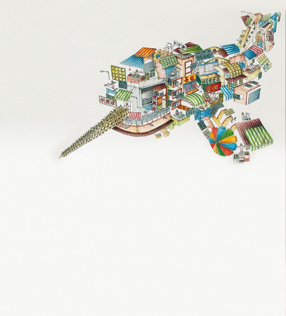 梁世潘「建築生物」系列水彩畫色彩豐富。