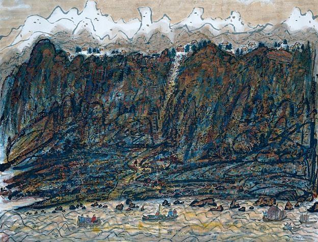 方召麐1988年作品《黃河》蒼拙有力。