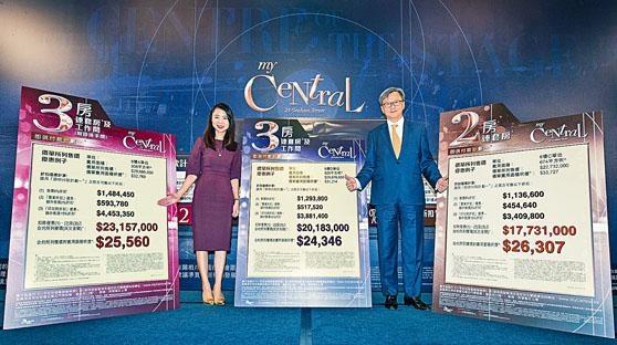 長實趙國雄表示,My Central首批價錢吸引。旁為何家欣。