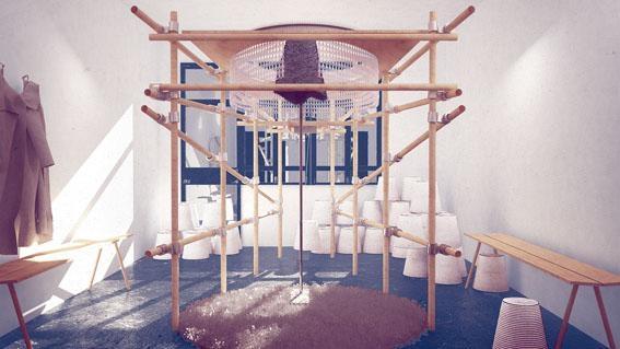 Malina Dabrowska、Jasper Stevens、Martyna Marciniak、Eunice Tsang和Mario Bobbio五位藝術家合作,設計出神奇聲控織布機《字織》。