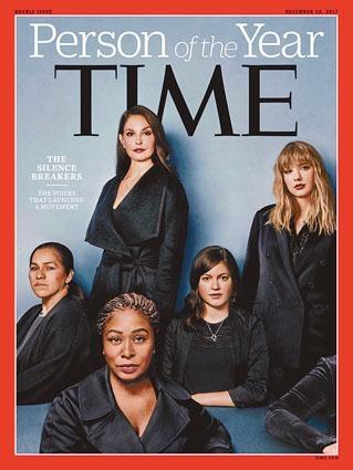《時代》公布風雲人物,此期封面有艾絲莉茱迪(後排左二)、Taylor Swift(後排右一)及Uber前工程師佛勒(後排右二)等人。