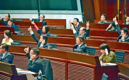 ■立法會會議討論修改議事規則動議。建制派議員投票通過。