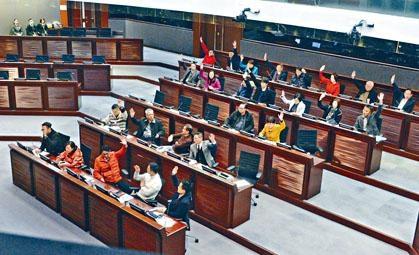 ■建制派一致贊成下通過修改《會議程序》。