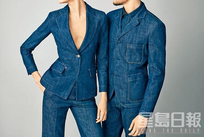 Giorgio Armani限量Luxury Denim系列正好為情人們,打造出牛仔情侶裝。左/單鈕牛仔西裝外套、牛仔西裝長褲;右/三粒鈕牛仔西裝外套、牛仔恤衫、牛仔西裝長褲。