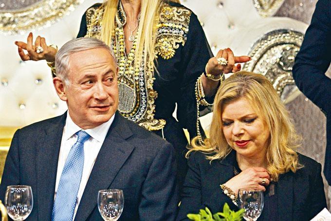 以色列總理內塔尼亞胡與妻子薩拉。